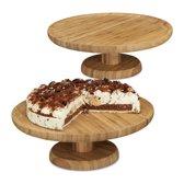 relaxdays 2 x taartplateau bamboe, taartstandaard hout rond houten serveerbord taart