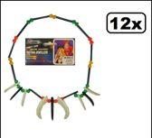 12x Plastic indianenketting kralen+tanden