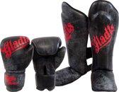 Gladts (kick)bokshandschoen + scheenbeschermer - combideal - 14 Oz handschoen - maat M scheenbeschermer