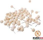 Kurk24 Ronde houten pushpins - 60 stuks