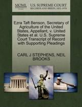 Ezra Taft Benson, Secretary of Agriculture of the United States, Appellant, V. United States Et Al. U.S. Supreme Court Transcript of Record with Supporting Pleadings