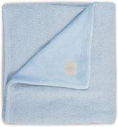 Deken 75x100cm Soft knit soft blue /coral fleece