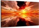 Canvas schilderij Abstract | Rood, Geel, Oranje | 140x90cm 1Luik