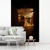 Fotobehang vinyl - Donkere foto van een wijnkelder breedte 235 cm x hoogte 350 cm - Foto print op behang (in 7 formaten beschikbaar)