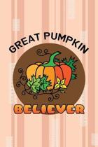 Great Pumpkin Believer: All Purpose 6x9 Blank Lined Notebook Journal Way Better Than A Card Trendy Unique Gift Pink and Cream Pumpking