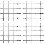 Vierkante Moderne RVS Pan Onderzetter Chroom Look Set - 4 Stuks - 19x19 cm | Pannen | Keuken | RVS | Chroom | Modern | Onderzetters