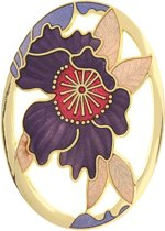 Behave® Broche ovaal met bloem paars emaille