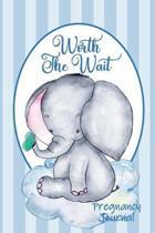 Worth the Wait: Pregnancy Journal. Baby Elephant Blue Stripes