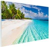 Palmbomen bij wit strand en blauw water Glas 60x40 cm - Foto print op Glas (Plexiglas wanddecoratie)
