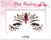 "Face Jewels ""Pink Flamingo""   Gezicht juwelen  Plak steentjes   Glitter  Plak Diamantjes   Strass steentjes  Festival Hot item 2019"