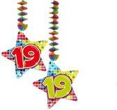 Spiraalversiering Birthday Blocks 19 jaar - 2 stuks