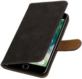Grijs Hout booktype wallet cover hoesje voor Apple iPhone 7 Plus / 8 Plus