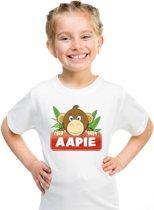 Aapie het aapje t-shirt wit voor kinderen - unisex - apen shirt XS (110-116)