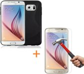 Comutter Silicone hoesje Samsung Galaxy S6 zwart met tempered glas screenprotector