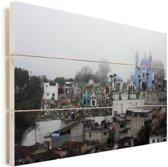 Mist boven de Mexicaanse stad Puebla Vurenhout met planken 90x60 cm - Foto print op Hout (Wanddecoratie)