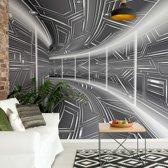 Fotobehang Modern 3D Tech Tunnel Grey   VEXXL - 312cm x 219cm   130gr/m2 Vlies