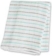 Lulujo swaddle 100% katoen 120x120 cm - Aqua Messy Stripe