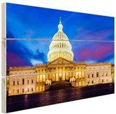 Facade Capitool Washington DC Hout 120x80 cm - Foto print op Hout (Wanddecoratie)