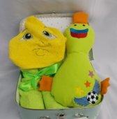 Koffertje badcape met knuffel voetbal eend