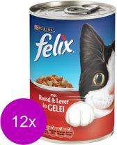 FELIX Blik Met Gelei - Rund en Lever - Kattenvoer - 12 x 400 gr