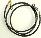 Brillenkoord - rond gevlochten leer - zwart - goudkleurige bevestiging