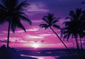 Fotobehang Beach Tropical Sunset Palms | XXXL - 416cm x 254cm | 130g/m2 Vlies
