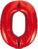 Cijfer 0 Rood Helium 86 cm