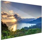Meer met bergen  Glas 90x60 cm - Foto print op Glas (Plexiglas wanddecoratie)