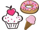 Strijk embleem 'Zoete desserts patch set (3)' – stof & strijk applicatie
