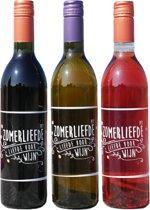 Zomerliefde Wijn Proefpakket - 3 x 75 cl - in PET-flessen - Plastic wijnfles - Recyclebaar plastic