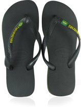 Havaianas Brasil Logo Slippers Unisex - Black/White