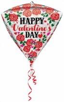 Helium Ballon Happy Valentine's Day Diamant 43cm leeg