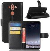 Nokia 8 Sirocco - Flip hoes, cover, case - TPU - PU Leder - Zwart
