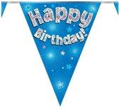 Vlaggenlijn hollograpic Happy Birthday Blauw