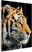Portret Siberische tijger Hout 60x80 cm - Foto print op Hout (Wanddecoratie)