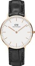 Daniel Wellington Classic Reading DW00100041 -  Horloge - Leer - Zwart - 36 mm