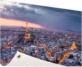 Parijs vanuit de lucht Tuinposter 200x100 cm - Tuindoek / Buitencanvas / Schilderijen voor buiten (tuin decoratie) XXL / Groot formaat!