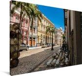 De oude stad van de Braziliaanse stad Recife Canvas 90x60 cm - Foto print op Canvas schilderij (Wanddecoratie woonkamer / slaapkamer)