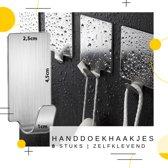 8 Badkamer Handdoekhaakjes / Keukenhaakjes | Zelfklevende RVS muur / wand  plak haakjes | Handdoek  / Keuken Haken | Set van 8 stuks ophanghaken