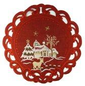 Kerstkleed - Linnenlook - Hert - Rood - Rond 30 cm - 8837