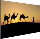 Silhouet van kamelen thar desert India Aluminium 180x120 cm - Foto print op Aluminium (metaal wanddecoratie) XXL / Groot formaat!