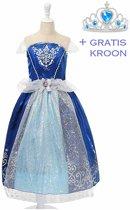 Cinderella jurk Prinsessen jurk verkleedjurk 104-110 (120) donker blauw met broche + GRATIS kroon