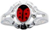 Classics&More - Zilveren Ring - Maat 46 - Lieveheersbeestje