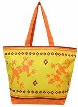 Damestas strandtas Gekko met zomer/reptielen print oranje/geel 58 cm - Dames handtassen - Shopper - Boodschappentassen
