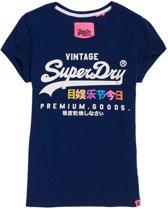 Superdry Premium Goods Puff  Sportshirt - Maat S  - Vrouwen - navy/wit