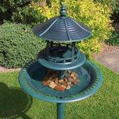 Vogelbad en voedertafel - Vogelvoederhuisje - Groen - 50 cm x 50 cm x 113 cm