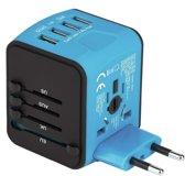 Universele Internationale Wereldstekker met 4 USB Poorten - Reisstekker voor 150+ landen - Engeland (UK) - Amerika (USA) - Europa - Australië - Azië - Zuid Amerika - Afrika - Reis Adapter - Blauw