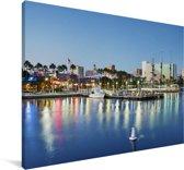 De skyline van het Amerikaanse Long Beach Canvas 140x90 cm - Foto print op Canvas schilderij (Wanddecoratie woonkamer / slaapkamer)
