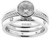 Diamonfire - Zilveren combinatiering Maat 19.0 - Glad - Solitaire - Bezette ring