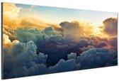 Kijkje van bovenaf wolken Aluminium 90x60 cm - Foto print op Aluminium (metaal wanddecoratie)